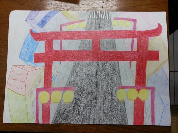 Desenho de Camila Kondo. Um lugar que mais gosto na minha cidade: Bairro da Liberdade